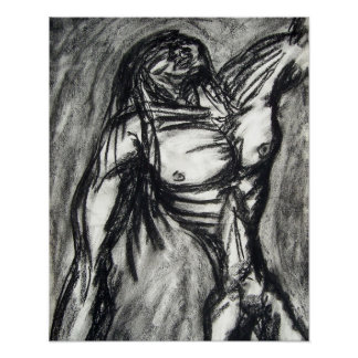 Grief and Agony charcoal drawing grunge emo goth Poster