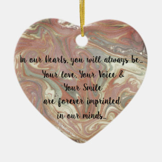 Grief gift heart ornament, loss of loved one ceramic ornament