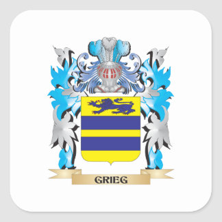 Grieg Coat of Arms - Family Crest Square Sticker