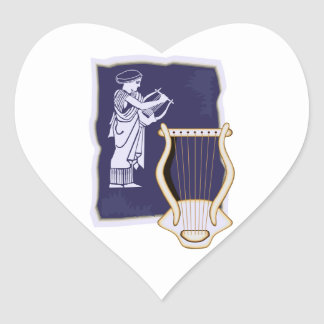 Griego del Lyre con la figura diseño de la arpa de Pegatina En Forma De Corazón