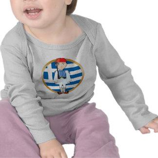 Griego Evzone con la bandera Camisetas