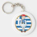 Griego Evzone con la bandera Llavero Personalizado
