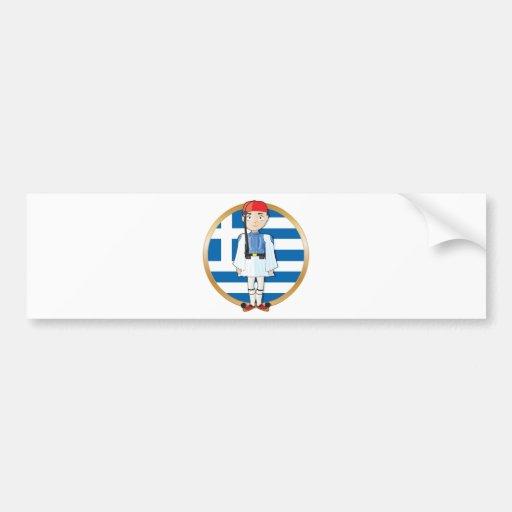 Griego Evzone con la bandera Pegatina Para Auto