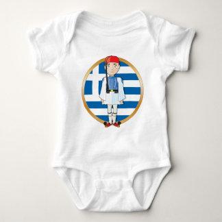 Griego Evzone con la bandera Remera