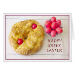 Griego feliz Pascua con la tarjeta del pan de Tsou