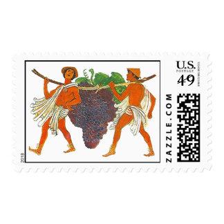Griegos que llevan el sello de las uvas del racimo