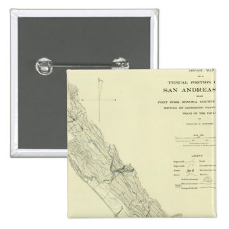 Grieta de San Andreas cerca del fuerte Ross Pin Cuadrada 5 Cm