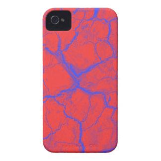 Grietas azules en la caja intrépida roja de iPhone 4 funda