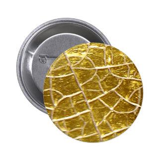 Grietas de piedra del oro pin redondo de 2 pulgadas