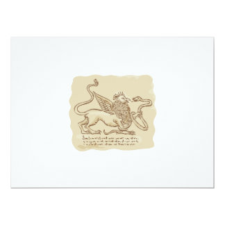 Griffin Fighting Snake Side Etching 6.5x8.75 Paper Invitation Card