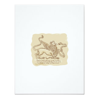 Griffin Fighting Snake Side Etching 4.25x5.5 Paper Invitation Card