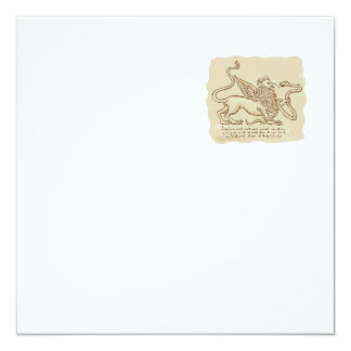 Griffin Fighting Snake Side Etching 5.25x5.25 Square Paper Invitation Card