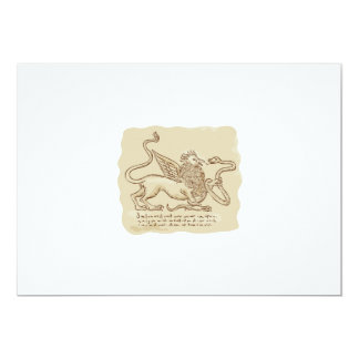 Griffin Fighting Snake Side Etching 5x7 Paper Invitation Card
