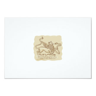 Griffin Fighting Snake Side Etching 3.5x5 Paper Invitation Card