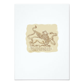Griffin Fighting Snake Side Etching 4.5x6.25 Paper Invitation Card