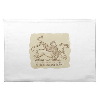 Griffin Fighting Snake Side Etching Cloth Placemat