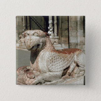 Griffin lying on a plinth, mid 13th century pinback button