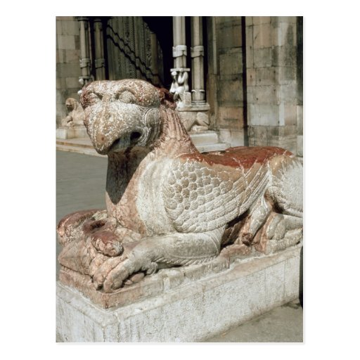 Griffin lying on a plinth, mid 13th century post card