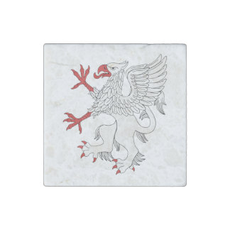 Griffin Rampant Argent Marble Magnet Stone Magnet