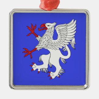 Griffin Rampant Argent Metal Ornament