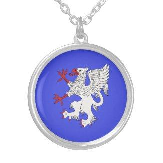 Griffin Rampant Argent Round Pendant Necklace
