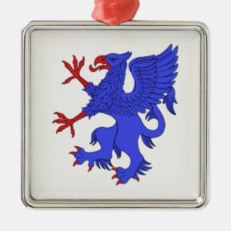 Griffin Rampant Azure Metal Ornament