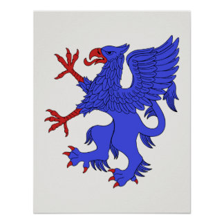 Griffin Rampant Azure Poster