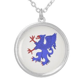 Griffin Rampant Azure Round Pendant Necklace
