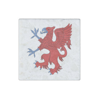 Griffin Rampant Gules Marble Magnet Stone Magnet
