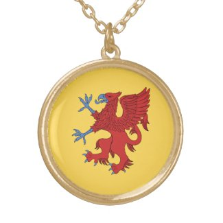 Griffin Rampant Gules Round Pendant Necklace