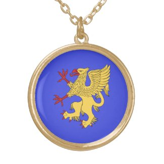 Griffin Rampant Or Round Pendant Necklace