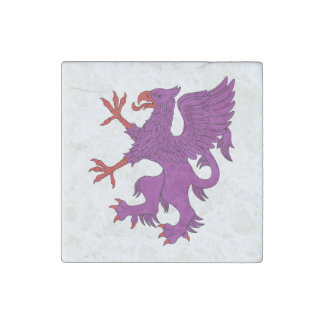 Griffin Rampant Purpure Marble Magnet Stone Magnet