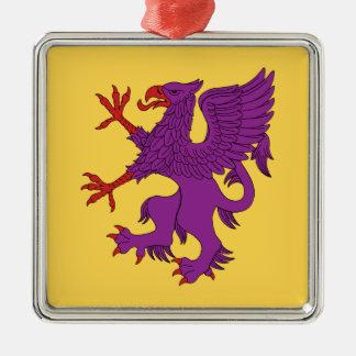 Griffin Rampant Purpure Metal Ornament