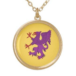 Griffin Rampant Purpure Round Pendant Necklace
