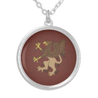 Griffin Rampant Round Pendant Necklace