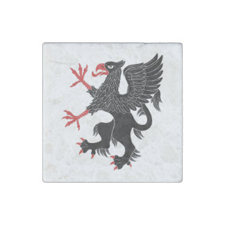 Griffin Rampant Sable Marble Magnet Stone Magnet