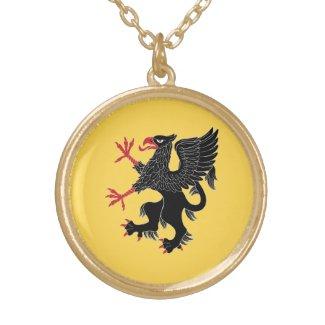 Griffin Rampant Sable Round Pendant Necklace