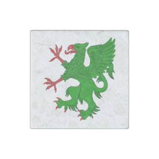 Griffin Rampant Vert Marble Magnet Stone Magnet