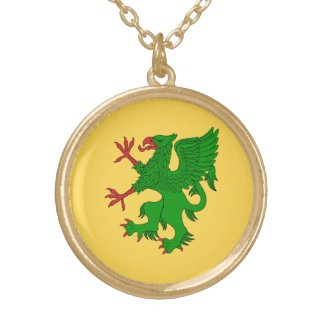 Griffin Rampant Vert Round Pendant Necklace