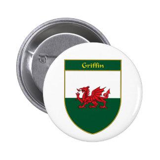 Griffin Welsh Flag Shield Pinback Button