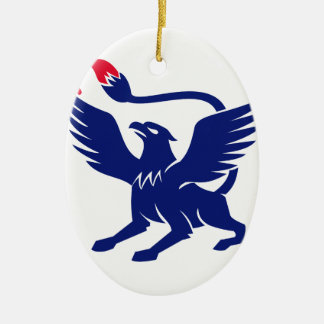 Griffin with Paintbrush Tail Icon Ceramic Ornament