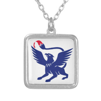Griffin with Paintbrush Tail Icon Silver Plated Necklace