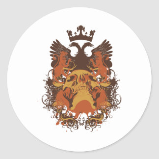 Griffins and Skull Classic Round Sticker