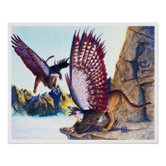Griffins on Cliff Poster
