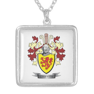 Griffith Family Crest Coat of Arms Silver Plated Necklace