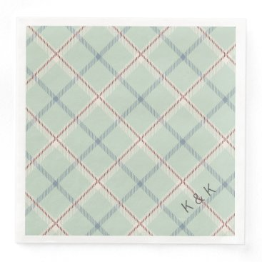 Valentines Themed Griffith Family Tartan Plaid Check in Sage Green Paper Dinner Napkin