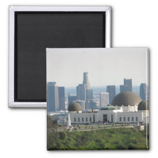 Griffith Observatory and Downtown Los Angeles 2 Inch Square Magnet