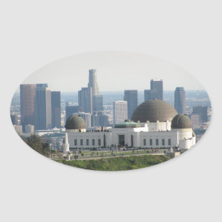 Griffith Observatory and Downtown Los Angeles Oval Sticker