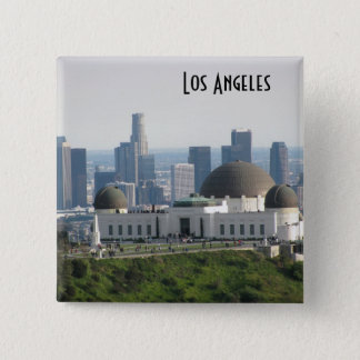 Griffith Observatory and Downtown Los Angeles Pinback Button