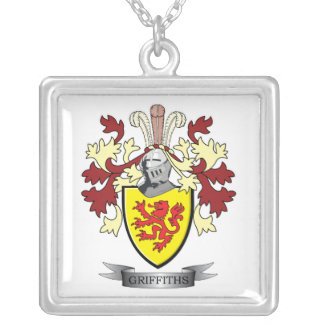 Griffiths Family Crest Coat of Arms Silver Plated Necklace